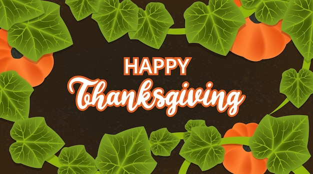 Happy thanksgiving background with pumpkin plants illustration