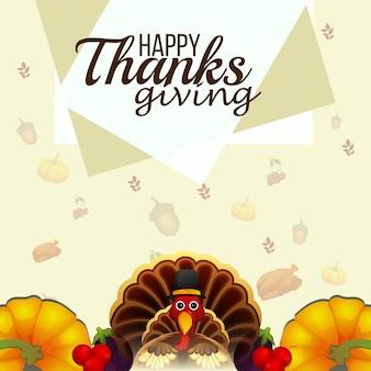 Happy thanksgiving background with turkey bird and pumpkin