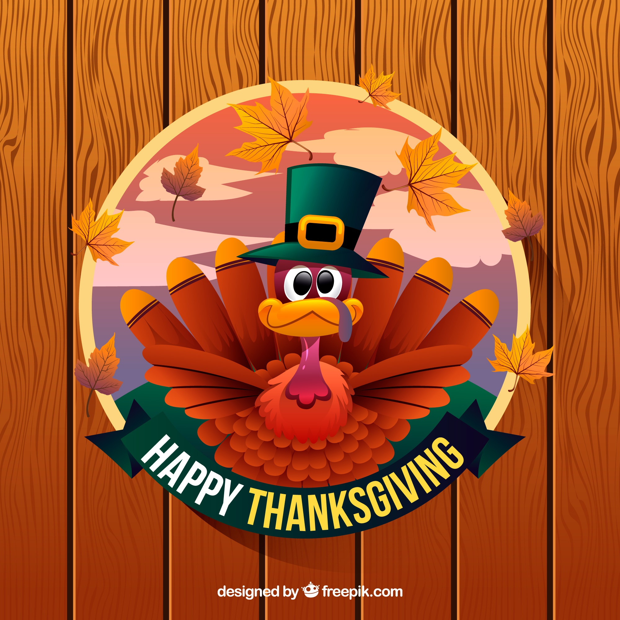 Happy thanksgiving background with turkey