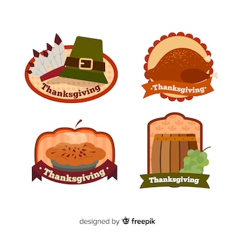 Happy thanksgiving badge collection in flat design