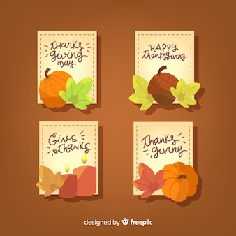 Happy thanksgiving badge collection with handwritten text
