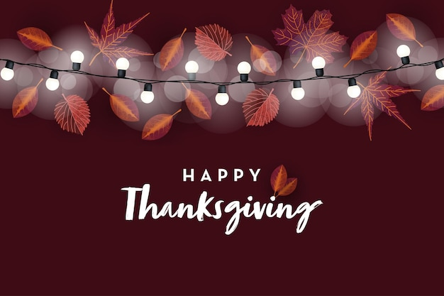 さまざまな紅葉のベクトルテンプレートと幸せな感謝祭のバナーの背景