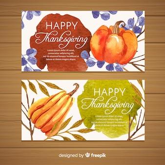 Happy thanksgiving banner set in flat design