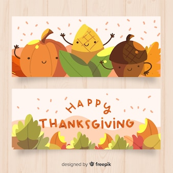 Happy thanksgiving banner set with cute autumn elements in flat design