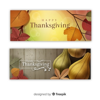 Happy thanksgiving banner set