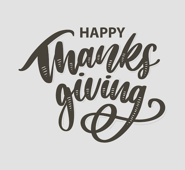 Happy thanksgiving brush hand lettering isolated on white background