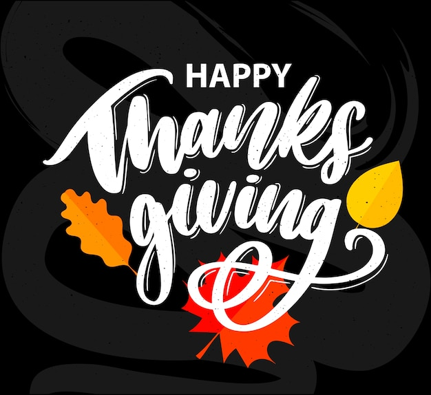Happy thanksgiving brush hand lettering, isolated