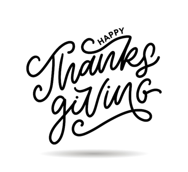 Happy thanksgiving calligraphy isolated on white