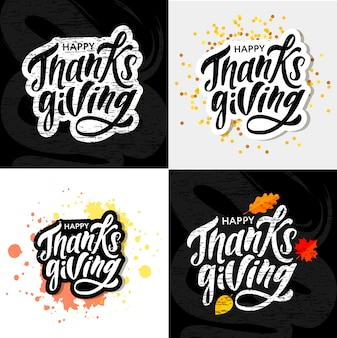 Happy thanksgiving calligraphy sticker