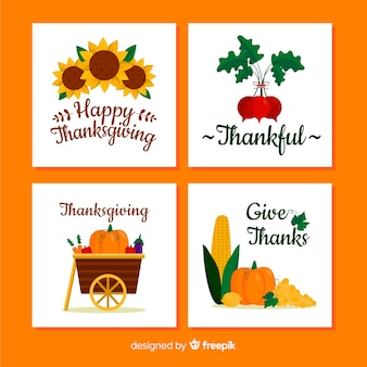 Happy thanksgiving card collection in flat design