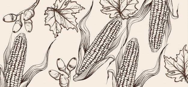 Happy thanksgiving card line art. corn autumn harvest illustrations