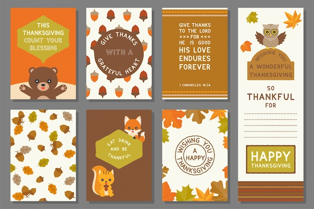 Happy thanksgiving card template, elements and seamless pattern for thanksgiving day, flat design vector