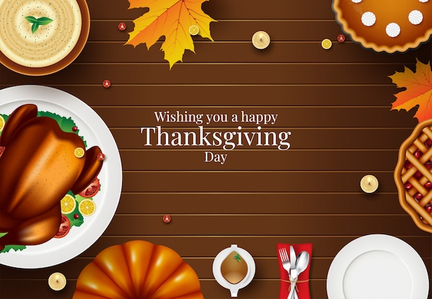 Happy thanksgiving card with autumn elements over wooden. colorful design. vector illustration