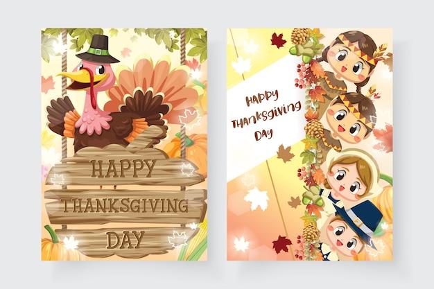 男の子、女性、七面鳥と木製の看板と幸せな感謝祭のカード