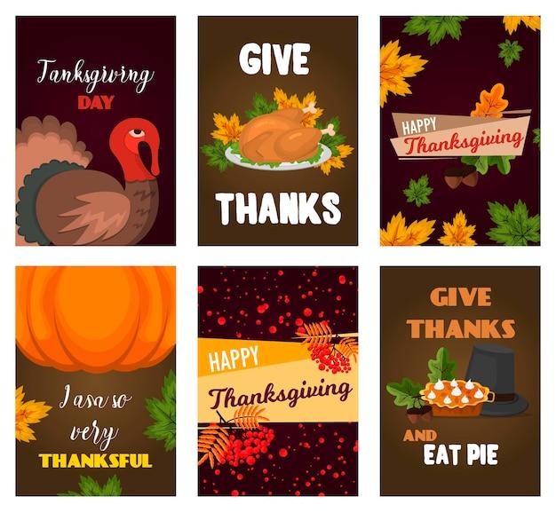С днем благодарения карты праздник дизайн баннера мультфильм осень приветствие урожай сезон праздник брошюра векторные иллюстрации. традиционная еда ужин сезонный благодарственный плакат.