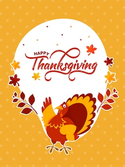 Happy thanksgiving celebration background with turkey bird.