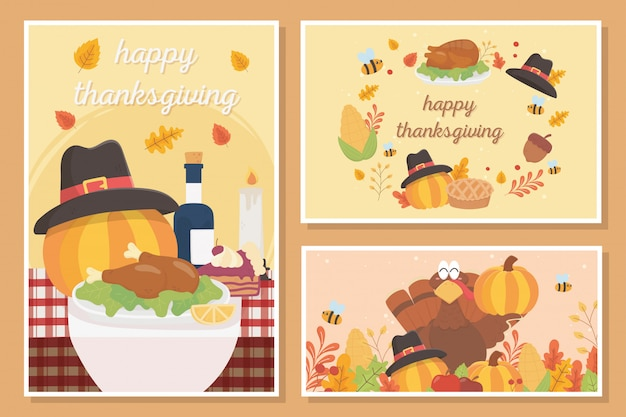 幸せな感謝祭のお祝いカード食品トルコカボチャパイドングリの葉