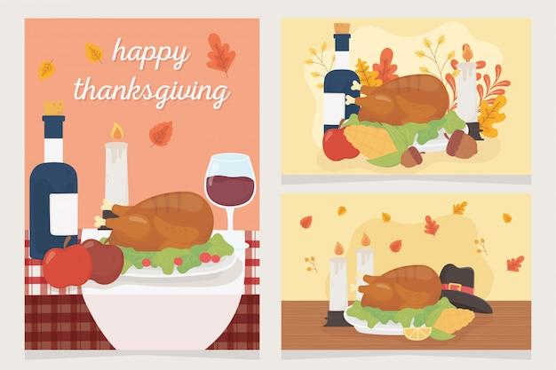 幸せな感謝祭のお祝いカードディナートルコワインフルーツキャンドル