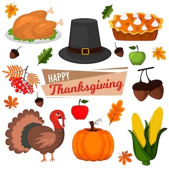 С днем благодарения празднование дизайн мультфильм осень приветствие урожай сезон праздник иконки. ужин из традиционных блюд, сезонный день благодарения.