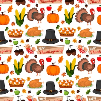 행복 한 추수 감사절 축 하 디자인 만화가 인사말 수확 시즌 휴가 원활한 패턴 배경 벡터 일러스트 레이 션. 전통 음식 저녁 식사 계절 감사 포스터.