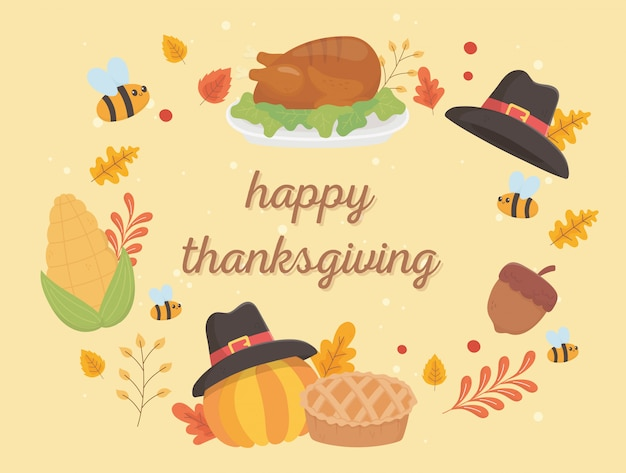Happy thanksgiving celebration lettering turkey hat pumpkin cake leaves