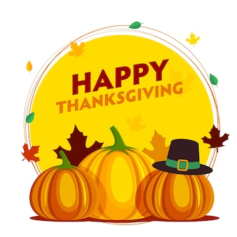 Happy thanksgiving celebration poster design with pumpkins, pilgrim hat and autumn leaves falling on yellow and white background.