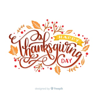 Happy thanksgiving concept with lettering