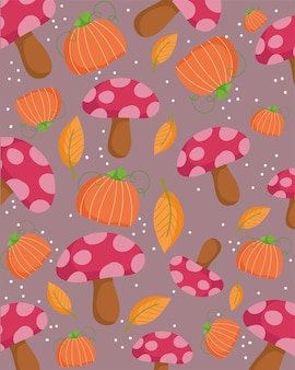 Happy thanksgiving day, autumn mushrooms pumpkin leaves decoration background
