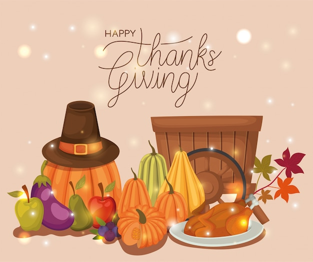 Happy thanksgiving day , autumn season holiday greeting and traditional   illustration