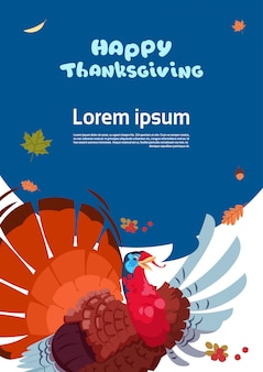 Happy thanksgiving day autumn traditional harvest greeting card with turkey