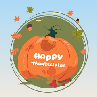 Happy thanksgiving day autumn traditional harvest greeting card