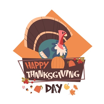Happy thanksgiving day autumn traditional harvest holiday greeting card with turkey
