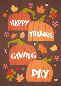 Happy thanksgiving day autumn traditional harvest holiday greeting card