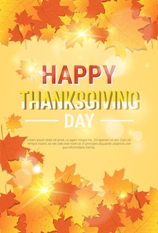 Happy thanksgiving day autumn traditional poster template