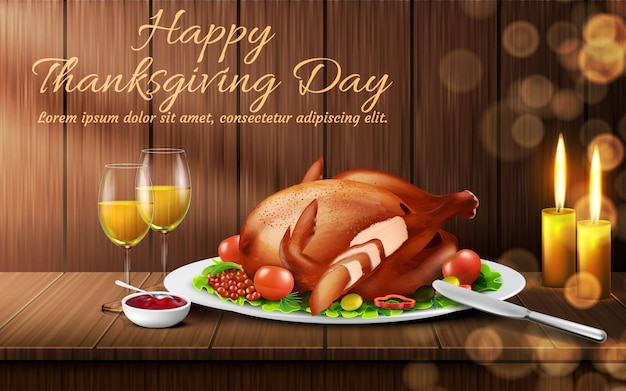 Happy thanksgiving day background. traditional holiday dinner, roasted turkey with vegetables