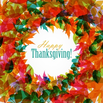 Happy thanksgiving day background with shiny autumn natural leaves. vector illustration eps10