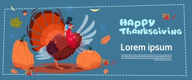 Happy thanksgiving day banner. autumn traditional harvest with turkey
