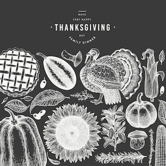 Happy thanksgiving day banner.  hand drawn illustrations on chalk board. greeting thanksgiving  template in retro style.