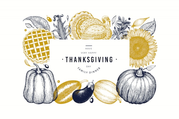 Happy thanksgiving day banner. hand drawn illustrations.