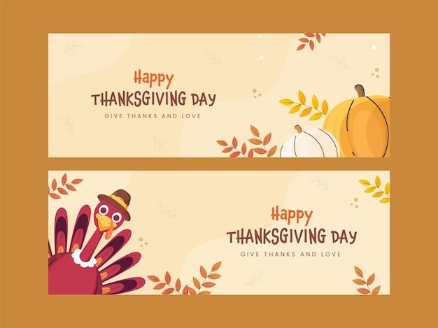 행복 한 추수 감사절 배너 또는 터키 새, 호박 및 두 가지 옵션의 잎 헤더 디자인.
