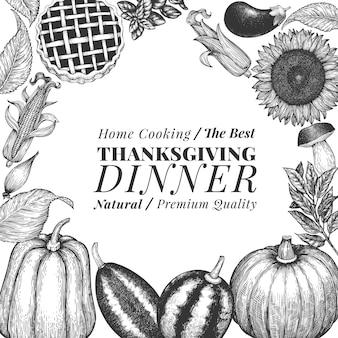 幸せな感謝祭の日バナー。ベクターの手描きイラスト。レトロなスタイルで感謝祭のデザインテンプレートをご挨拶。秋の背景。