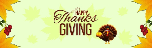 Happy thanksgiving day banner with vector turkey bird and autumn leafs
