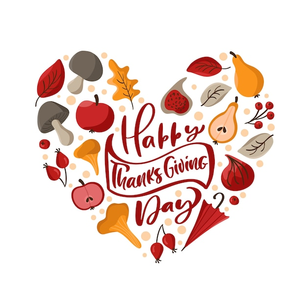 心の愛の形で秋の花輪のフレームと幸せな感謝祭の書道のレタリングテキスト。