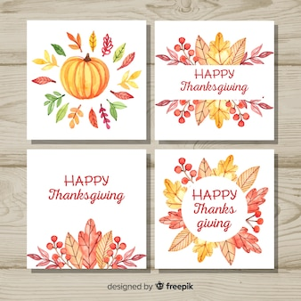 Happy thanksgiving day card collection in watercolor style