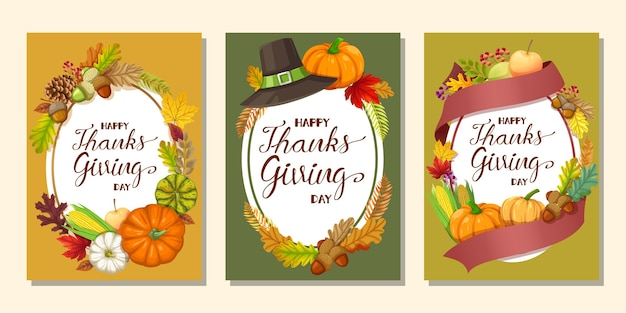 Happy thanksgiving day card or flyer with pumpkin, corn, walnuts, leaves and dried pine cones