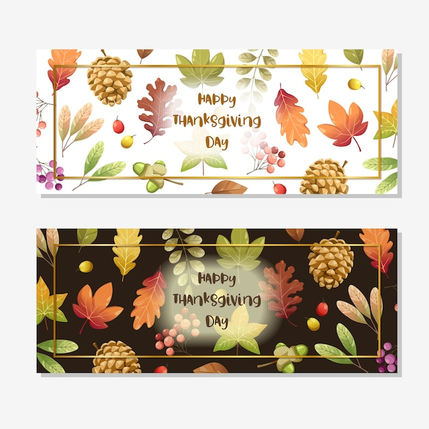 Happy thanksgiving day card o flyer con noci, zucca e foglie di acero.