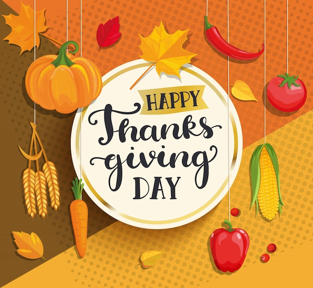 Happy thanksgiving day card on geometric background.