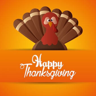 Happy thanksgiving day card orange background