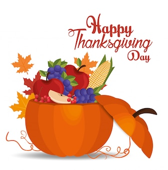 Happy thanksgiving day card pumpkin filled fruits