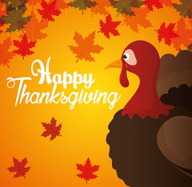 Happy thanksgiving day card turkey autumn background